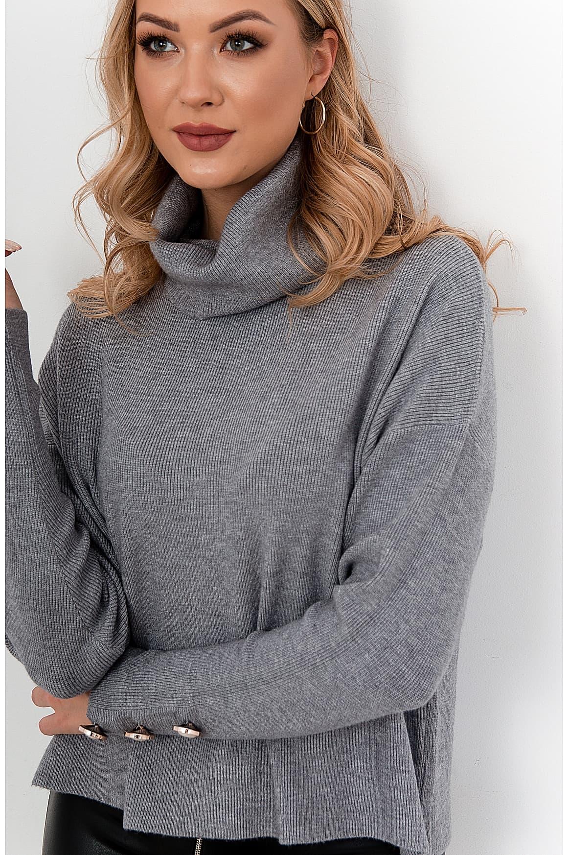 Szary sweter golf w warkocze - Sweter z golfem - sklep